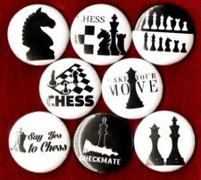 """CHESS 8 NEW 1"""" button pins badge checkmate life forum game king stocking stuffer"""