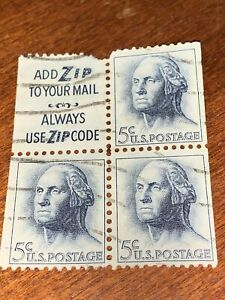 US Stamp George Washington 5 Cent Block Of 4 Sc # 1213 Add Zip To Your Mail Used