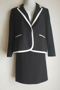Kasper Petites  Black/white Career 2 Piece Skirt Suit Size 16P fully lined
