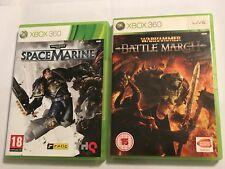 2 x COMPLETE PAL XBOX 360 GAMES WARHAMMER BATTLE MARCH + SPACE MARINE