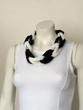 Necklace Finger Knitted Scarf Braided Chain Handmade Jewellery Black And White