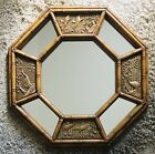 Vintage Faux Bamboo / Gold Octagon Large Wall Mirror Chinoiserie Bird Detail