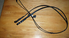"""Bobby's Signature English Leather WB Sz 5/8""""x65"""" Black Handstop Reins Rnd Buckle"""