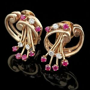 14K Rose Gold Over 2.36 Ct Ruby Spectacular Engagement Wedding Stud Earrings