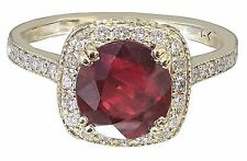 14k Yellow Gold Round Cut Ruby And Diamond Antique Design Halo Deco Ring 2.65ctw