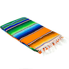 "Medium Mexican Sarape Sarapes Saltillo Serapes Blanket  48"" x 80"" YELLOW"