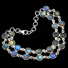 "Natural Labradorite Round Gemstone Bracelet 925 Sterling Silver Jewelry 8"""