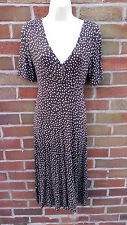 BNWT Laura Ashley Brown Jersey Dotty Robe Taille 8 stretch col V Travail Smart 36