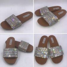 Steve Madden Sz 5 38 Dazzle Rhinestone Slides Sandals Mules Womens Girls