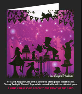 Once Upon a Twilight  'Alice In Wonderland Mad Hatters Tea Party' Christmas Card