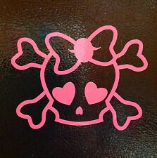 2x Skull Bones Pink Bow Tie Punisher funny car vinyl sticker decal girl JDM