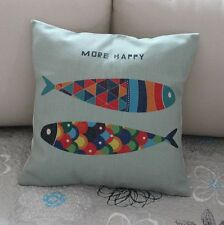 Colorful Geometries Fish Cotton Linen Cushion Cover Throw Pillow Home Decor 2638