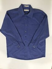 Michael Kors Mens Blue Plaid Shirt Size 16.5 32/33 Large Button Up LS