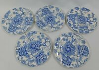 "5 Vintage English Chippendale Blue Bread Dessert Plate 6.5"" Johnson Bros England"