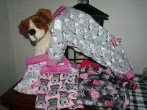 Cuffed 4 legged Dog Pajames,size MED Soft Flannel more sizes in my Ebay store