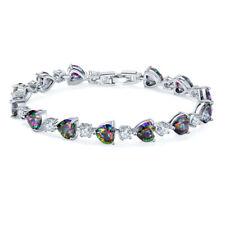Lovely Heart Shape Multi Color Rainbow Fire Mystic Topaz Gems Women Bracelets