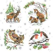 4 Lunch Paper Napkins for Decoupage, Table, Party, Craft, X-mas , Winter Animals