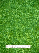 "Batik Fabric - Timeless Treasures Green Tones Small Flowers & Stems - 23"" Length"