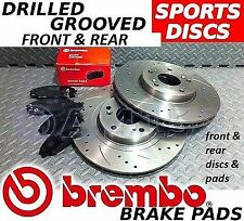 FRONT REAR Drilled Grooved Brake Discs & BREMBO Pads To Fit Subaru Impreza 4 pot