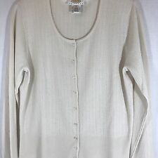 TALBOTS PETITE Ivory Rib Knit Stretch Cardigan Jacket Sweater Top Shirt M