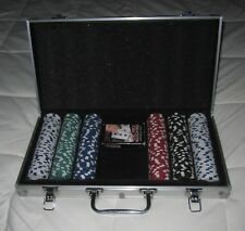 Pre-Owned Poker Game Chip Set w/ Aluminum Case Casino Cards Cardinal Industries
