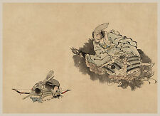 Japanese Art: Samurai and Young Son: Fine Art Print