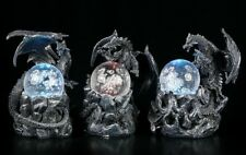 Schwarze Drachen Figuren mit LED Glaskugeln - 3er Set- Beleuchtung Deko