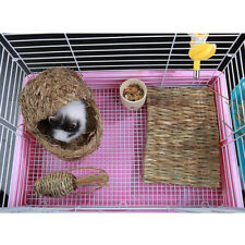 New listing Handwoven Straw Cage Mat Sleep Bed And Chew Toy For Small Pet Rabbit Hamster