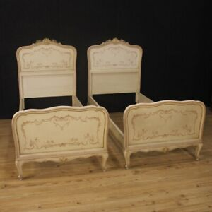 Pair Of Beds Lacquered Furniture Antique Style Venetians Wood Painting Room 900