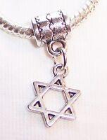 Jewish Star of David Silver Tone 6 Point Dangle Charm for European Bead Bracelet