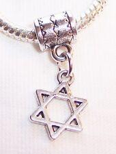 Jewish Star of David Silver Tone Dangle Bead fits European Style Charm Bracelets