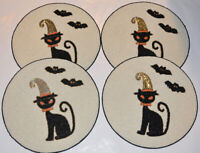 Cynthia Rowley HALLOWEEN BLACK CAT Place mat LUX CHARGER Shimmer NEW x4