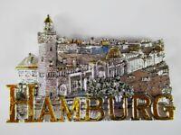 Hamburgo Landungsbrücken Puerto Germany Vista Poly Imán Recuerdo Alemania