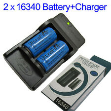 2 x CR123A 16340 3.6V 1200mAh Protected Rechargeable Battery + US CHARGER+Box