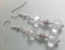 Handmade Clear Faceted Glass Crystal Bead Earrings Daisy Spacer Beads