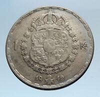 1942 Sweden GUSTAF V Silver Krona Crowned ARMS Antique Vintage Coin i74291