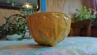 Vintage McCoy Pottery Yellow IVY Leaves Hanging Basket Planter