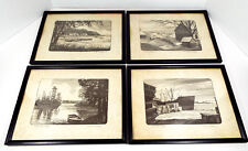 Harlan Scheffler Woodblock Prints Set of 4 Reproduction Black Wood Frames 13x10