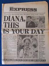 Daily Express 29/7/81 - Prince Charles & Princess Diana Royal Wedding