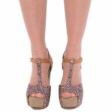 New Ladies Women T Bar High Heel Peep Toe Glitter  Sandals Shoes Wedding Size UK