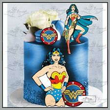 Wonder woman birthday CARD Edible Wafer Paper Cupcake Cake Topper super hero