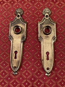 Pair Art Deco Door Knob Backplates, Worn Brass Wash Finish, Free S/H