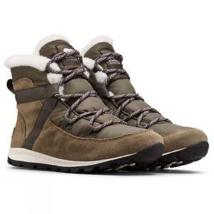 "$120 NWT Sorel Whitney Flurry Waterproof Faux Fur Snow Boots ""Sage"" Green Sz 6"