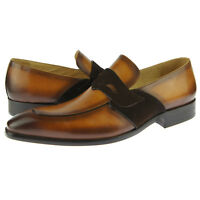 Carrucci Modern Penny Loafer, Men's Slip-on Dress Leather Shoes, Cognac