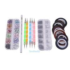 Nail Art Design Dotting Pen Brush Kit 30 Nail Decoration Tape Rhinestones Set