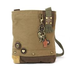 Chala Messenger Handbag Patch Cross body Metal SLIM CAT Olive Green Bag Canvas