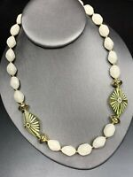 Vintage Large Lucite Beaded Whiye Free Bold Statement Necklace 18""