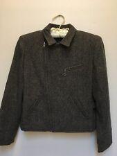 RALPH LAUREN Womens 4P Brown Tweed Wool Zip Blazer Jacket VGC