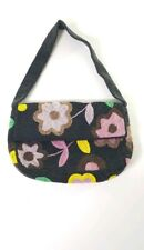 Vintage Y & S Bag Hand  Beaded Colorful Flowers  Magnetic Snap