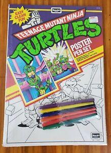 Vintage 1989 Teenage Mutant Ninja Turtles Poster Pen Set